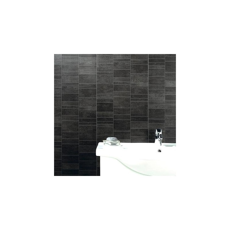 Lambris grosfillex 39 exapan element s 39 pvc anthracite 8 mm for Lambris pvc mural grosfillex