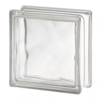 Brique de verre Coeck 'Nuageux' transparent 19 x 19 x 10 cm